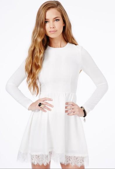 dress long sleeve dress lace dress white short dress