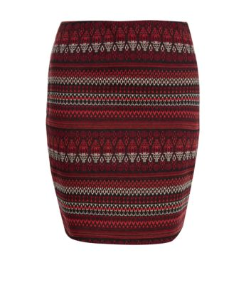 Red Aztec Stripe Jacquard Mini Skirt