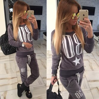 set 2 piece set women tracksuit printed pants sweatshirt sweatpants sweater skinny grey graphic tee outfit outfit idea tumblr outfit urban outfitters tumblr clothes printed sweater textured top bag velour sweatsuit