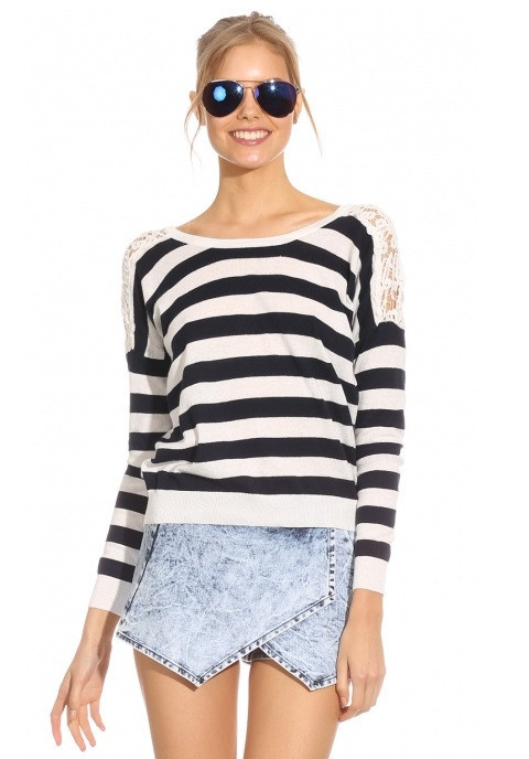 """Chic """"stripes & laces"""" sweater – glamzelle"""
