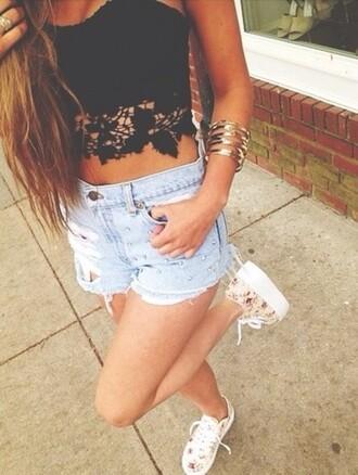 black top shorts lace denim shoes crop tops midriff bangles high waisted shorts