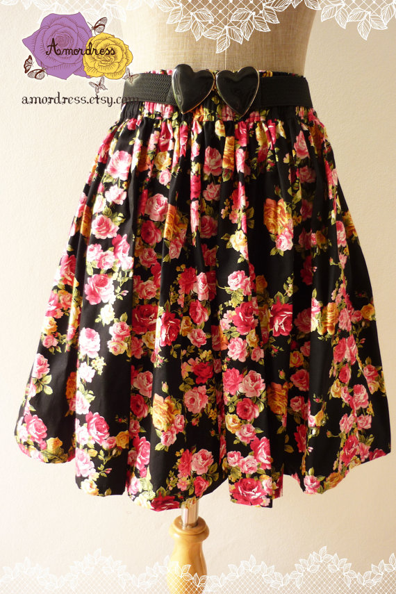 Floral Skirt Pink Rose Floral Vintage Inspired by Amordress