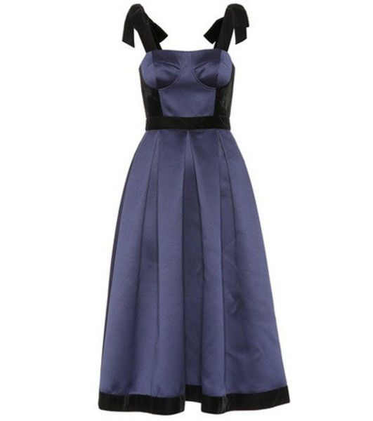 Huishan Zhang Victoria satin corset dress in blue