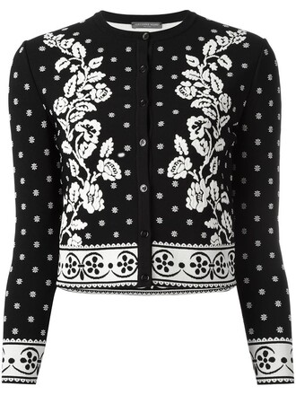 cardigan women spandex jacquard floral black sweater