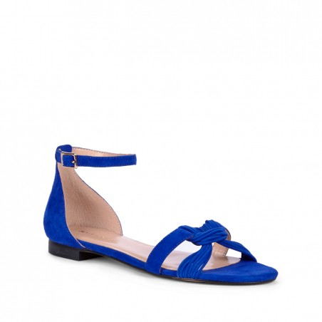 Women's Crystal Blue Suede 1/4 Inch  Knotted Suede Sandal | Gracee by Sole Society