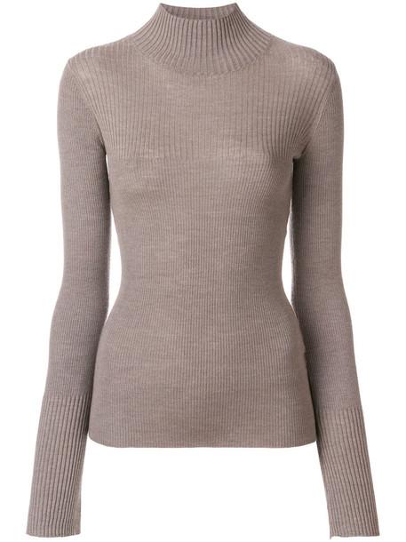 Joseph - skinny fit rib knit sweater - women - Silk/Cashmere/Wool - L, Brown, Silk/Cashmere/Wool