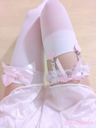 tights pink bows garter leggings