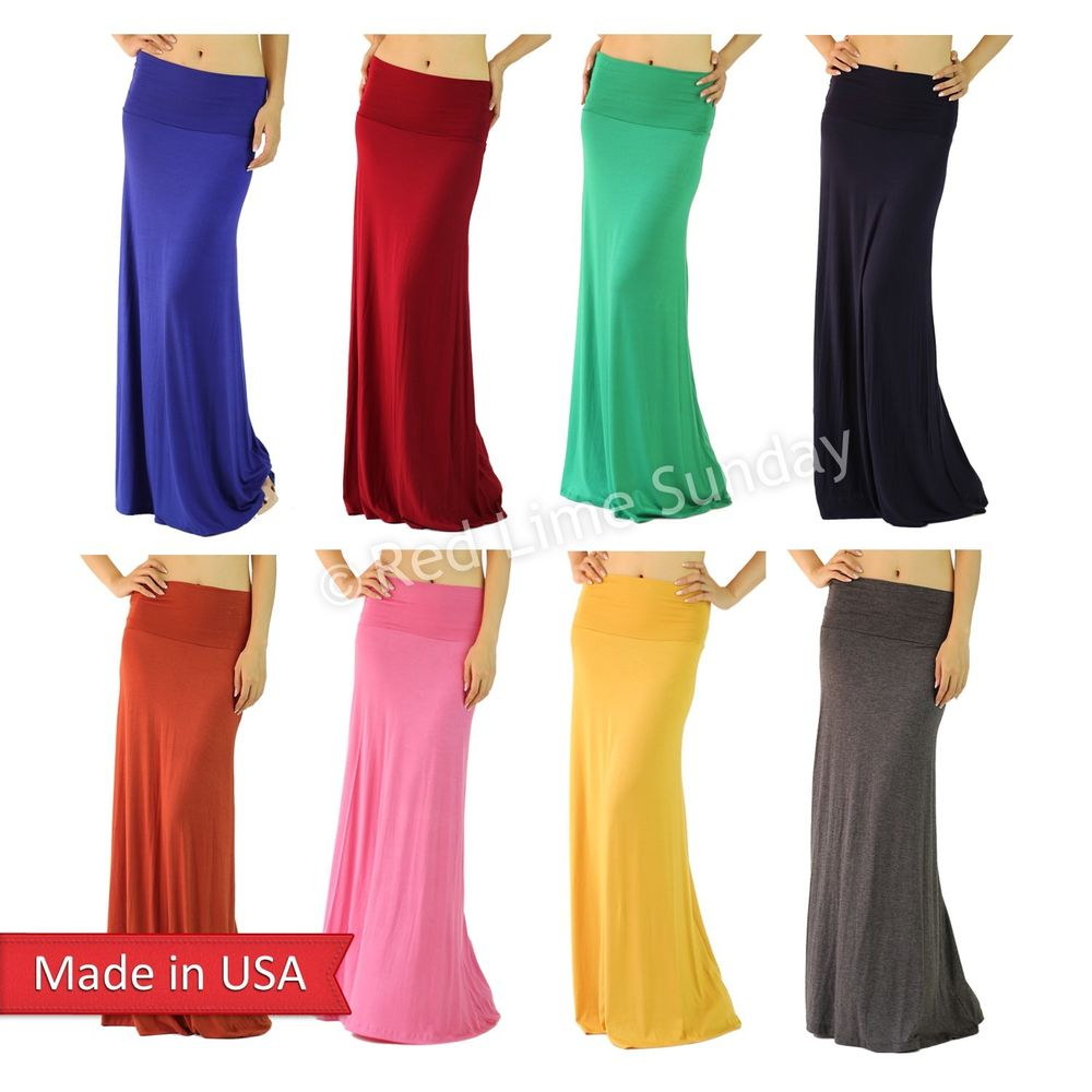 Women Urban Essential Rayon Solid Color Stretchy Fold Over Long Maxi Skirt USA