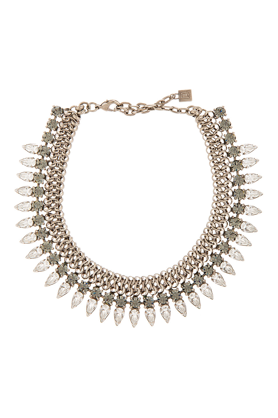dannijo silver and crystal handmade whistler choker