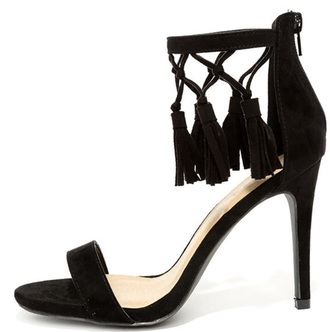 shoes black suede heels tasselsls
