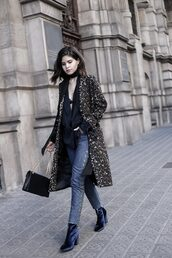 fake leather,blogger,coat,jacket,jeans,shoes,bag,jewels,sweater,blouse,black blouse,black bag,ankle boots,winter outfits,tumblr,printed coat,top,black top,choker necklace,black choker,underwear,bralette,denim,blue jeans,eyelet detail,boots,blue boots,velvet,velvet ankle boots,velvet boots,velvet shoes,chain bag