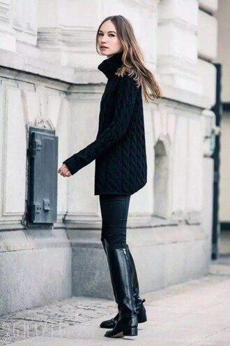 sweater black cable knit sweater cable knit black sweater turtleneck turtleneck sweater pants black pants boots black boots knee high boots flat boots all black everything fall outfits