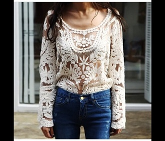 blouse white crochet crochet top
