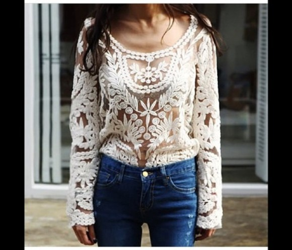 blouse crochet top white crochet