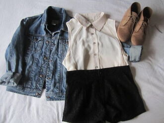 shoes desert boots lace up flat denim jacket sleeveless shirt shorts jacket black jeans blouse