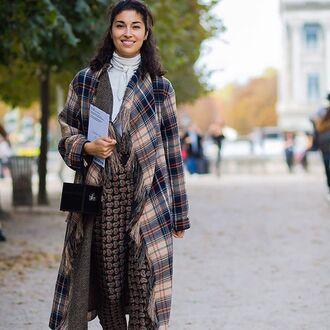 coat tumblr tartan plaid flannel pants printed pants bag black bag fall outfits streetstyle printed oversized coat