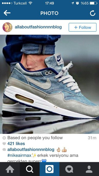 shoes nike denim air max air max air max nike shoes mens shoes nike sneakers blue sneakers mens sneakers