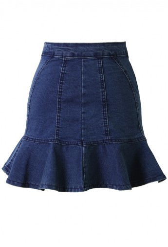 Fitted Denim Skirt with Frill Hem - Retro, Indie and Unique Fashion