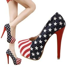 Fashion Elegantwomen Lady Platform Pumps American Flag Stiletto High Heels Shoes | eBay