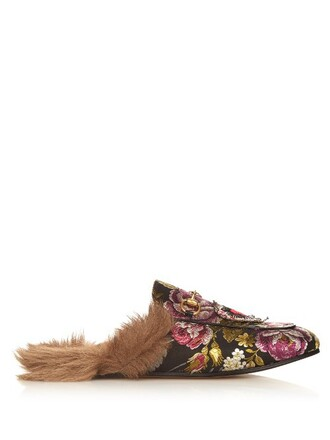 fur loafers floral black shoes
