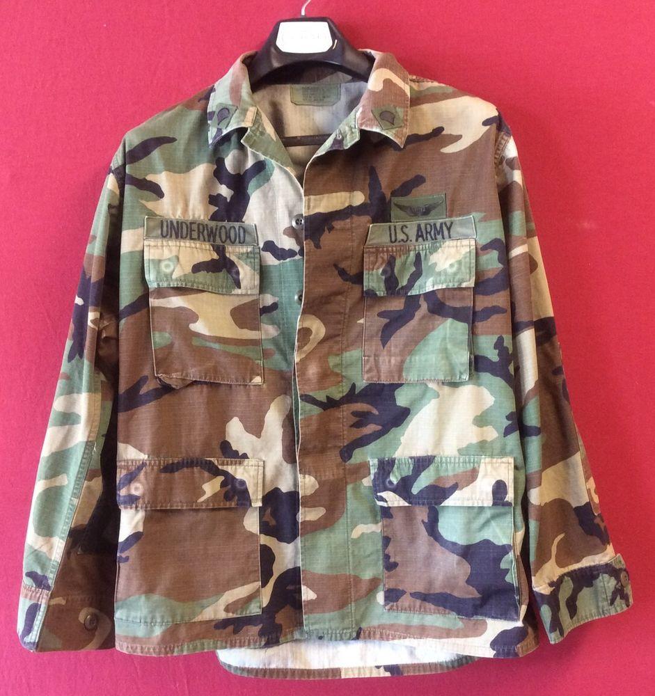 Mens Medium-Regular U.S. ARMY Camo Jacket, Woodland Camouflage Combat Military