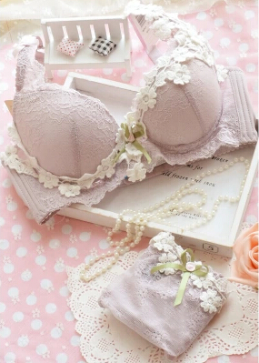 Free shipping sexy lace lingerie set girls gather small chest adjustable thick embroidery japanese lingerie bras 2014 new hot