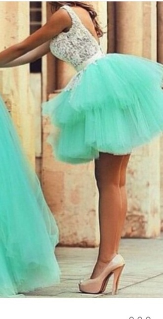dress tulle skirt homecoming dress turquoise lace
