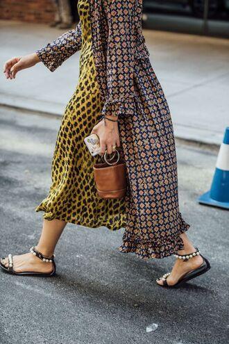 bag simon miller bag handbag dress midi dress yellow yellow dress streetstyle sandals flat sandals black sandals embellished mini bag