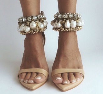 shoes nude shoes high heels beige shoes sparkly shoes sparkly heels gemstone pearl