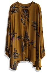 top,keep swinging floral tunic in tan,chicwish,tunic,tan