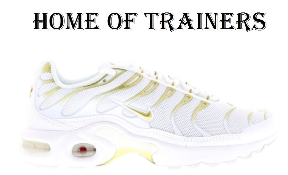 NIKE AIR MAX PLUS TNS(GS) TRAINERS WHITE WHITE GOLD ALL SIZES 3 4 5 6 7