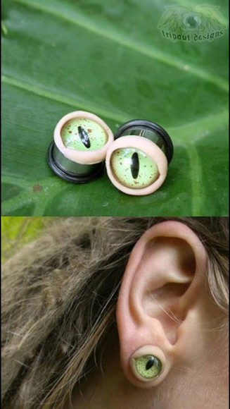 jewels accessory accessories jeweld piercing extensions curly cute brunette snake cute earrings eye weird unique dress odd cool grunge ear piercings plugs gauges gauges,gauge,stretched ears stretched ears green style