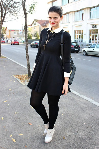 peter pan collar dress black skater dress