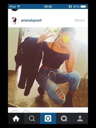 jeans pants bottoms ripped boyfriend jeans