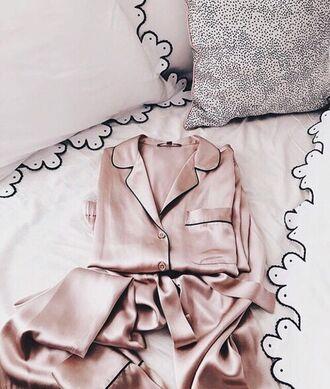 pajamas pink pastel pink underwear rose gold satin girly pretty sleepware silk rose celebritystyleguide blogger