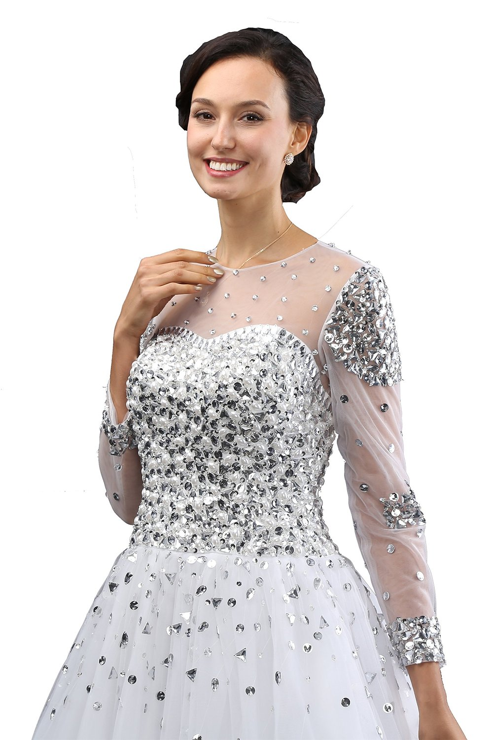 L\'ivresse Women\'s Long Sleeves Crystals Tulle Ball Gowns Wedding ...