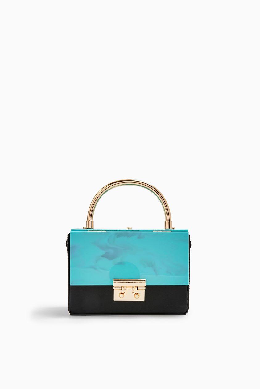 Womens Coral Boxy Acrylic Grab Bag - Blue