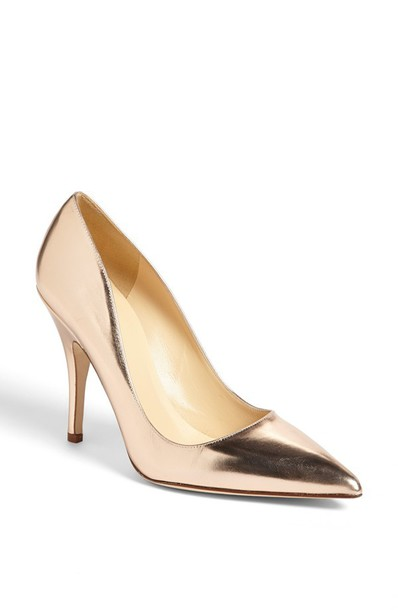 Shoes: gold rose gold heels high heels pointed toe metallic