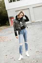 jacket,tumblr,embellished,embellished jacket,studded,studded jacket,black jacket,leather jacket,black leather jacket,boots,white boots,ankle boots,denim,jeans,blue jeans,ripped jeans,hoodie,adidas