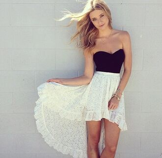 dress tank top skirt black hilo high low hi lo dress dresses hair blonde hair smile hi lo dress hi lo d lace dress high low dress black and white white shirt high low skirt white black and white dress high and low dress white and black lace dress crochet strapless