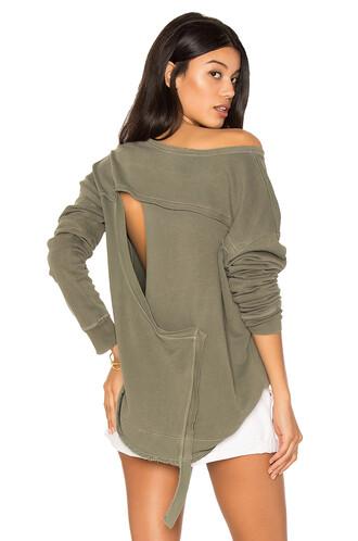 sweatshirt back open open back green sweater