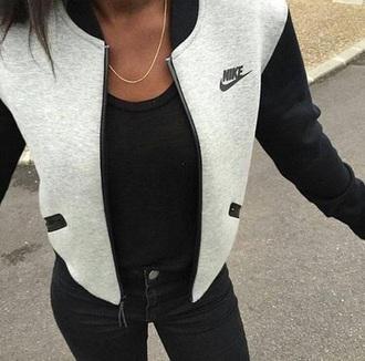 jacket nike black white grey