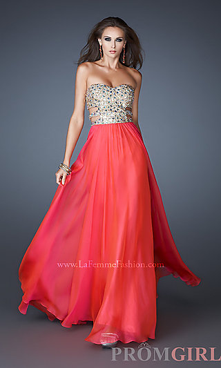 Sexy cut out prom gown, la femme strapless prom dresses