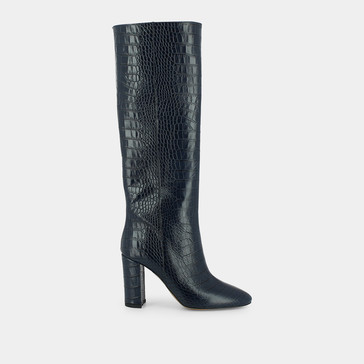 Heeled boots , in blue croco leather JONAK