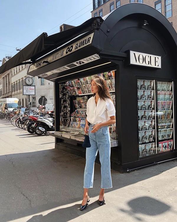 jeans top deni denim shoes mules bag sunglasses