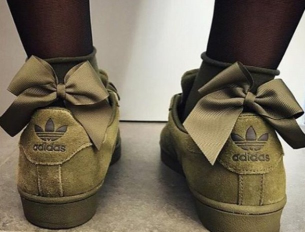 shoes, green, khaki, adidas, bow, bows