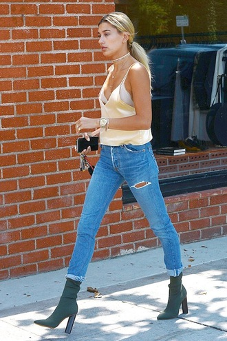 shoes yellow tank top ripped jeans white bra green ankle boots blogger