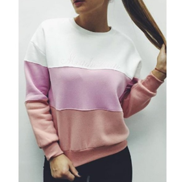 Wholesale Stylish Round Collar Long Sleeve Letter Print Color ...