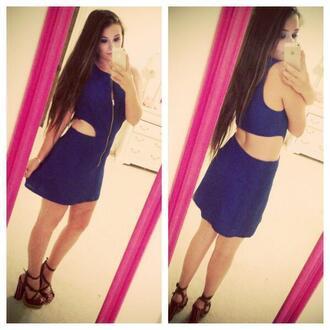 dress blue blue dress zipper dress