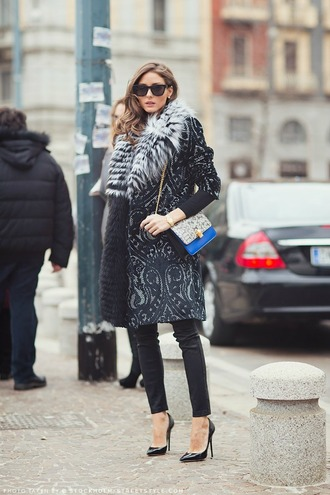 jacket sunglasses coat olivia print warm olivia palermo